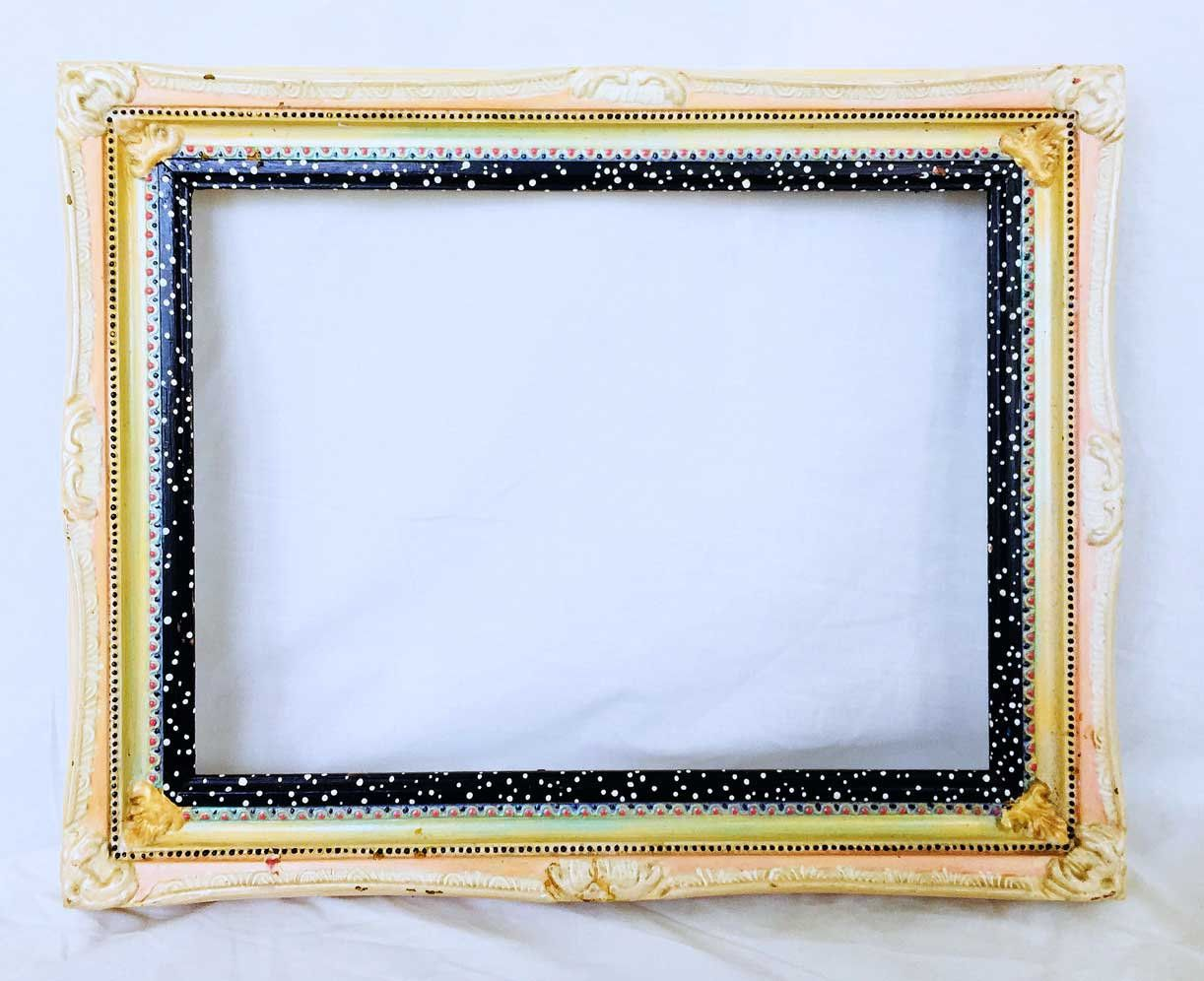 Frame Vintage Folk Art 60s Carved Painted Wood Beachy Etsy Antique Picture Frames Frame Painting Frames