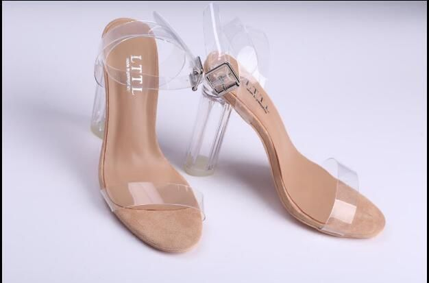 39c7a9861c 2017 PVC Jelly Sandals Open Toe High Heels Women Transparent Perspex  Slippers Thick Heel Clear Sandalias