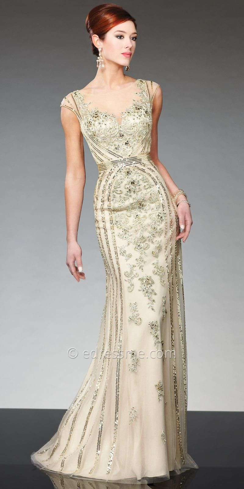 Evening wedding guest dresses  Regal Illusion Sweetheart Evening Gown by Tony Bowls Evenings