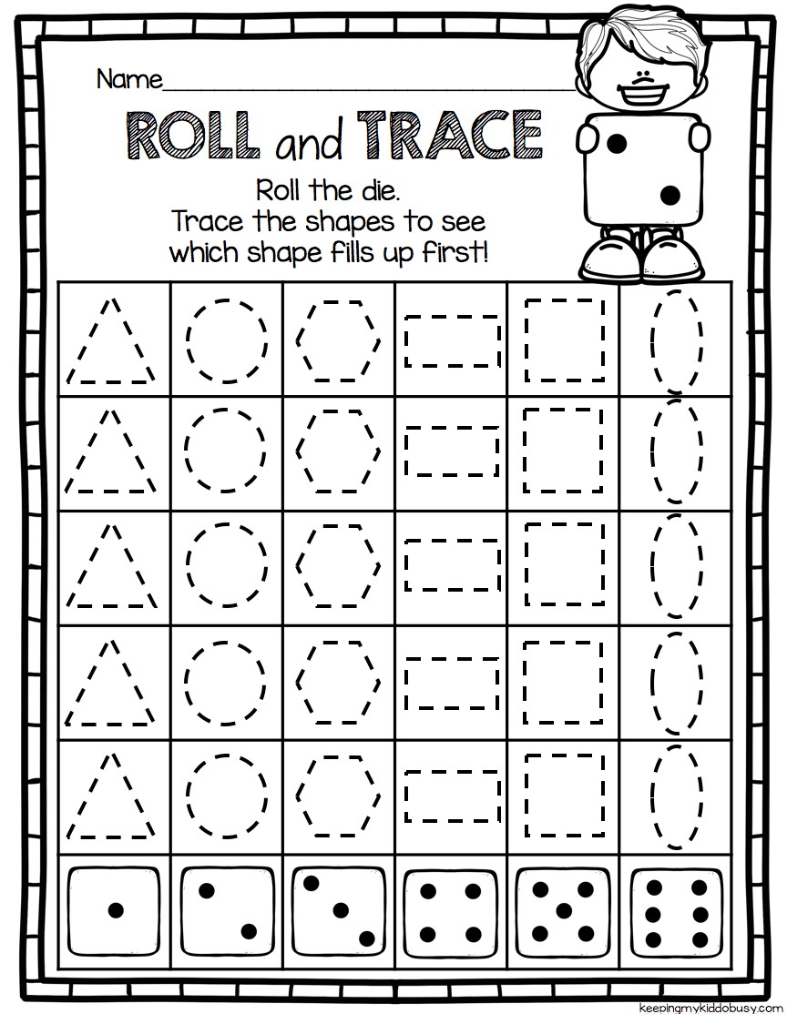 Geometry Roll And Trace No Prep Math Center For Kindergarten Common Core Aligned Math Centers Kindergarten Kindergarten Math Kindergarten Geometry [ 1114 x 864 Pixel ]