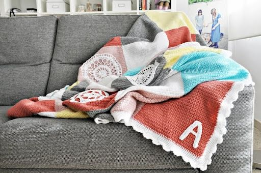 crochet blanket -- no tutorial, but beautiful colors and ideas regarding doilies and lettering!