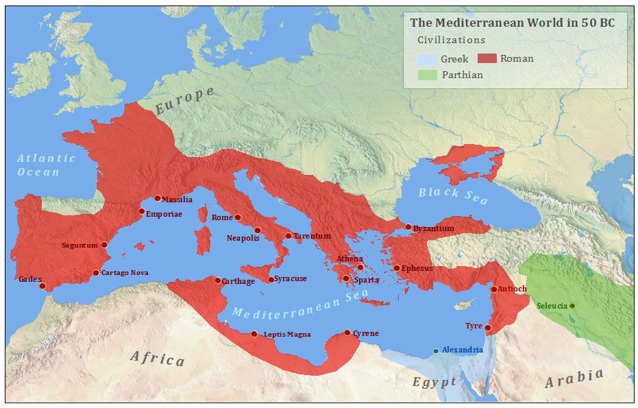 Image result for map roman empire 50 BC | Roman empire, Alexandria egypt,  Cartago