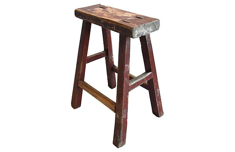 Primitive Handmade Elm Farmhouse Stool Farmhouse Stools Stool