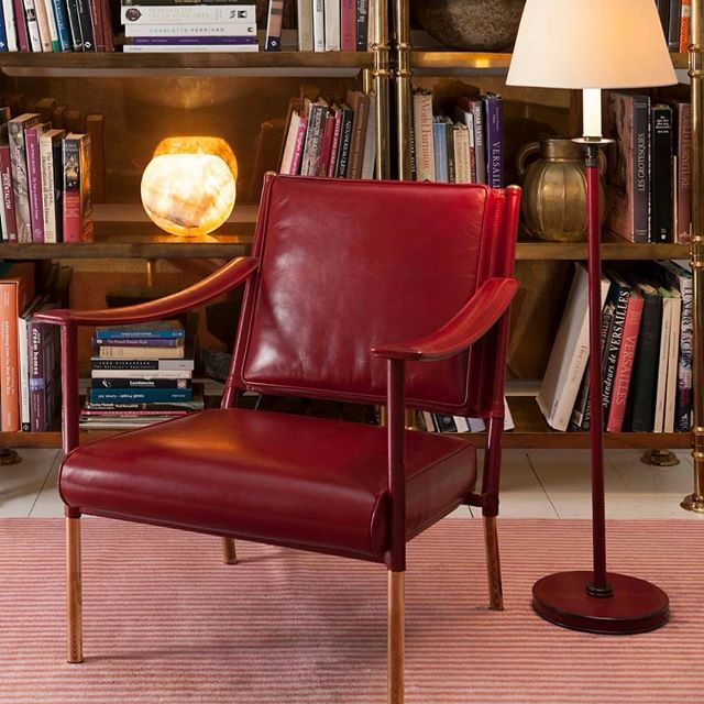 Soane britains leather wrapped furniture and lighting collection now includes the weymouth floor light shown here with the simplified crillon cha