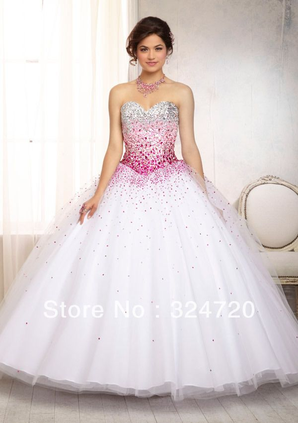 Pretty White Dress With Ombre Beaded Bodice on a Tulle Sweet 15 Ball Gown New 2014 Quinceanera Dress 88086