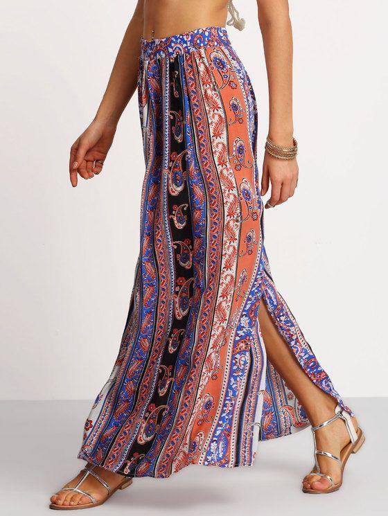 Boho Slit Maxi Skirt