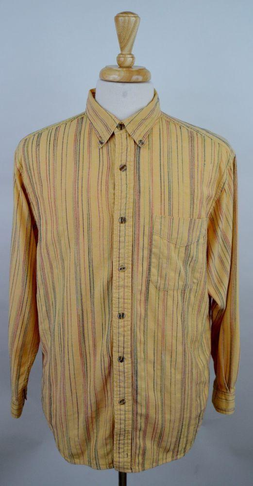men's The Territory Ahead long sleeve button cotton peach stripe pocket shirt L #TheTerritoryAhead #ButtonFront