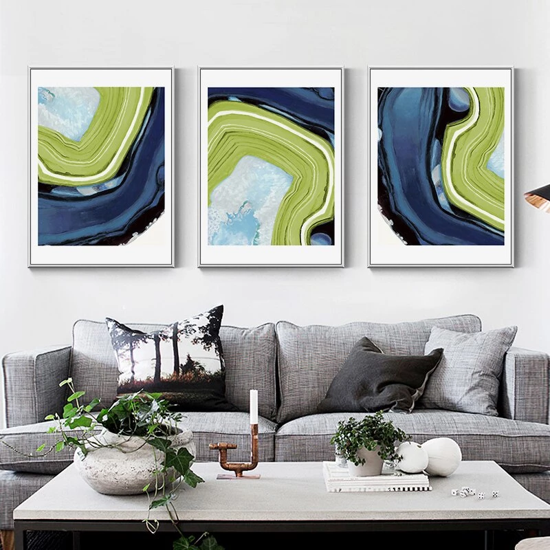 Green Blue Ink Painting Canvas Poster Picture Wall Art Pop Home Room Decor Print