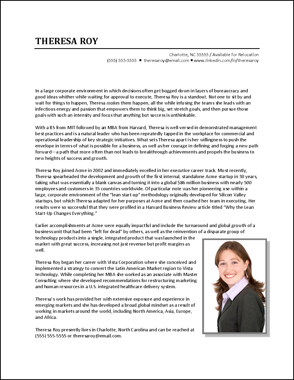 Executive biography example business development for Employee biography template