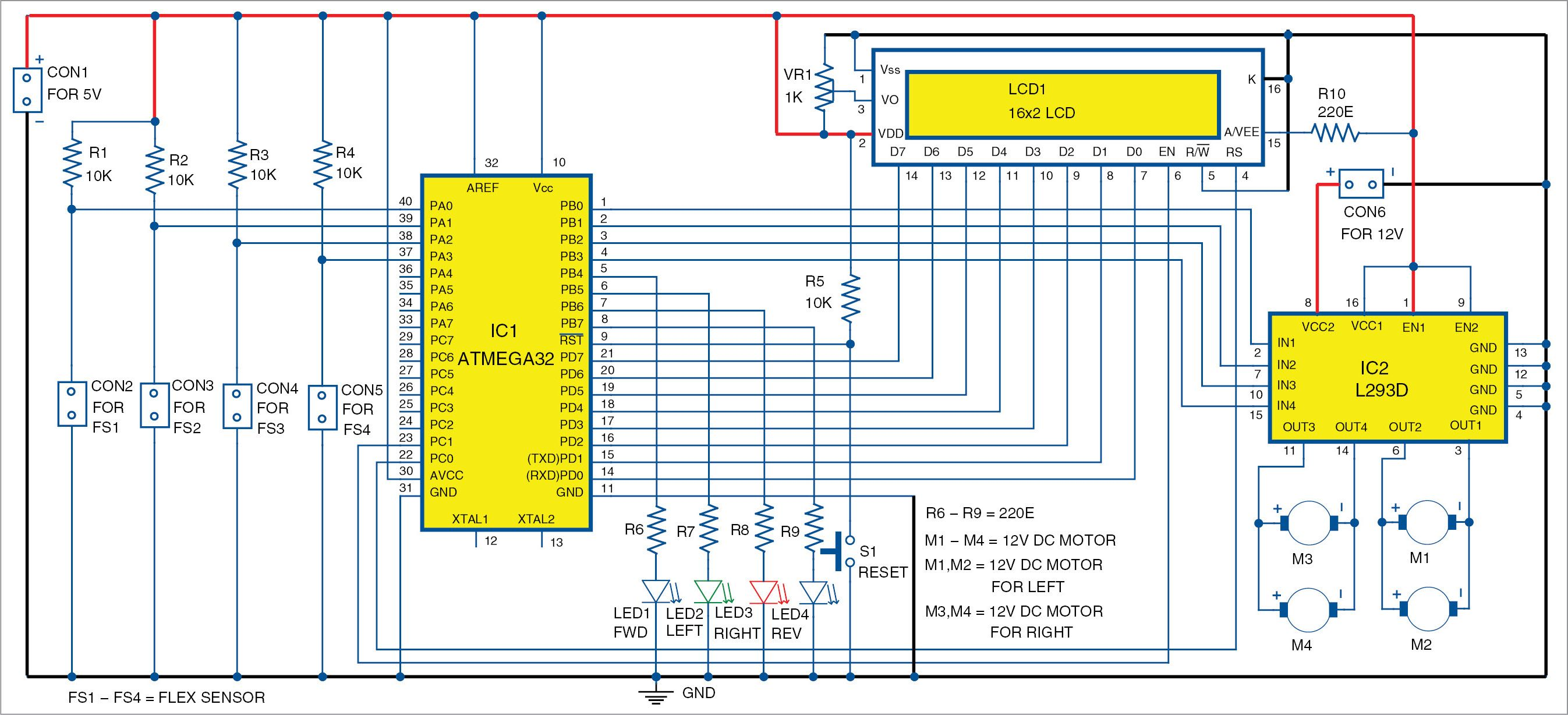 Gesture Controlled Wheelchair Using Atmega32 Full Electronics Project Circuit Diagram Control Electronics Projects