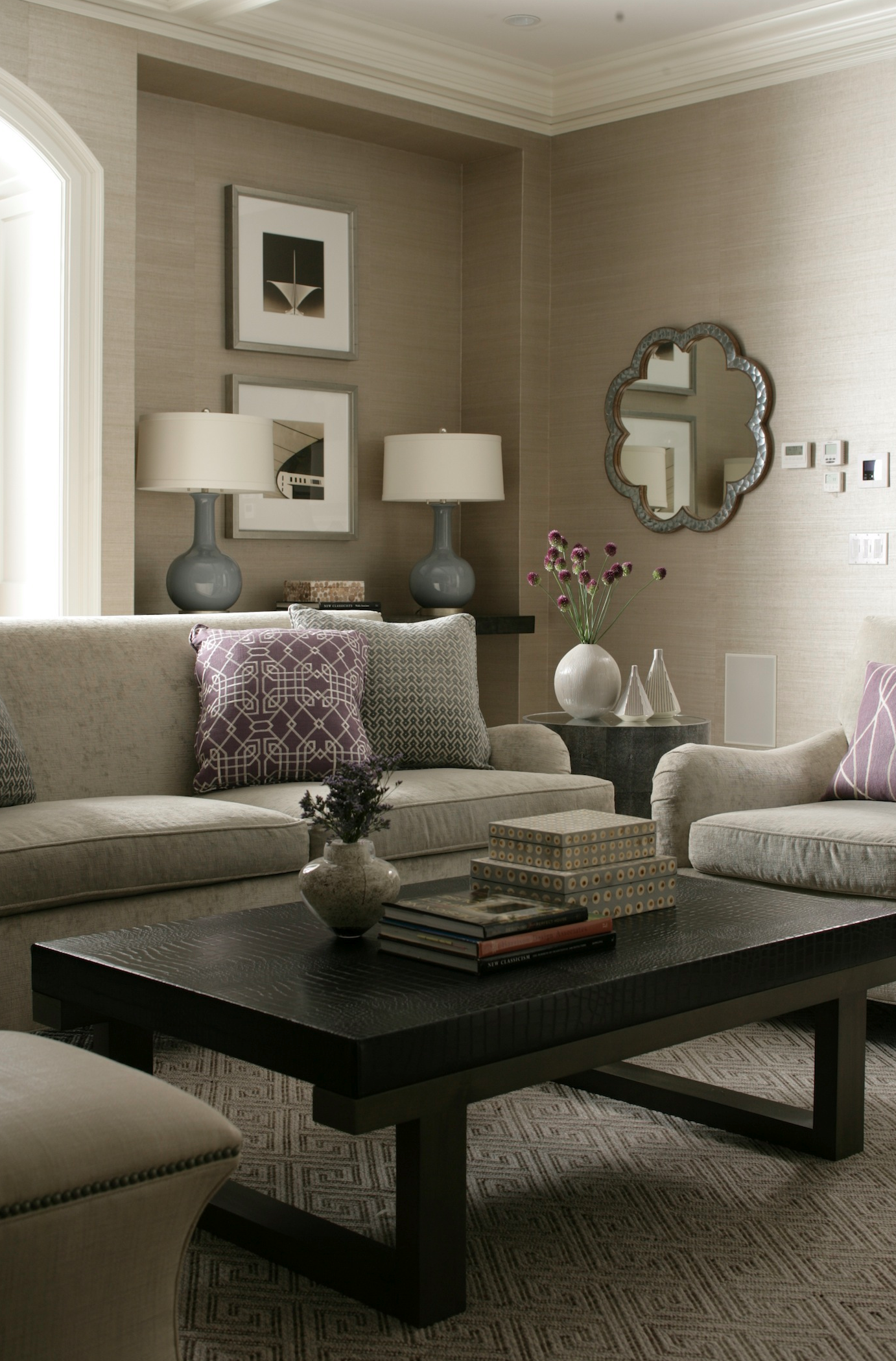 cool purple grey living room | Soft grays and tans with Plum accents | House, home ...