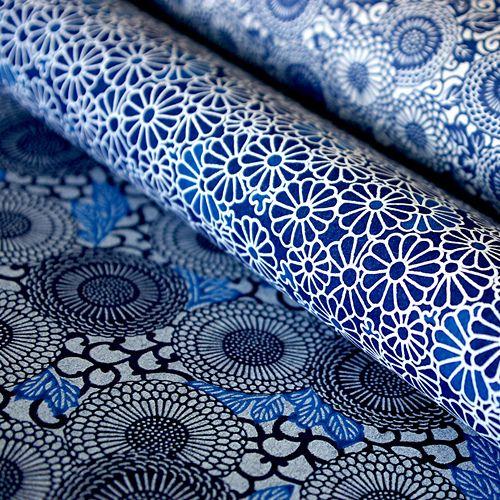 Blue flowers Tissu japonais, Japonais et Tissu