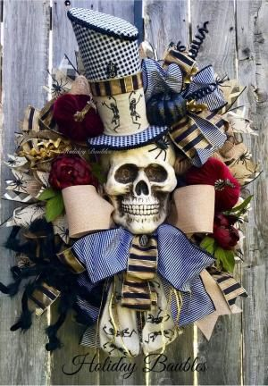 Excited to share this item from my #etsy shop: Mr Bones Wreath, Skeleton Wreath, Creepy Halloween Wreath, Mr Fancy Skull Wreath, Halloween Decor, Halloween Wreath, Skeleton Decor by taylor #halloweenwreaths