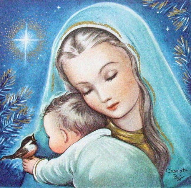 Charlot Byj Byi Xmas Greeting Card Sweet Madonna Child Under