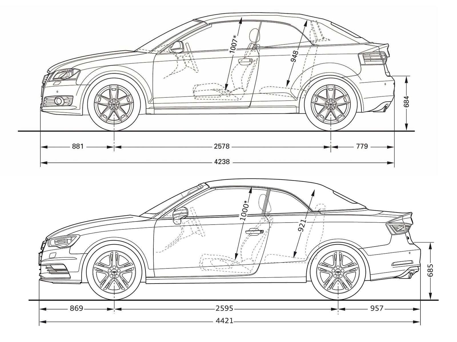 audi a3 cabriolet dimension comparison sketch pinterest audi a3 cabriolet audi a3 and audi. Black Bedroom Furniture Sets. Home Design Ideas