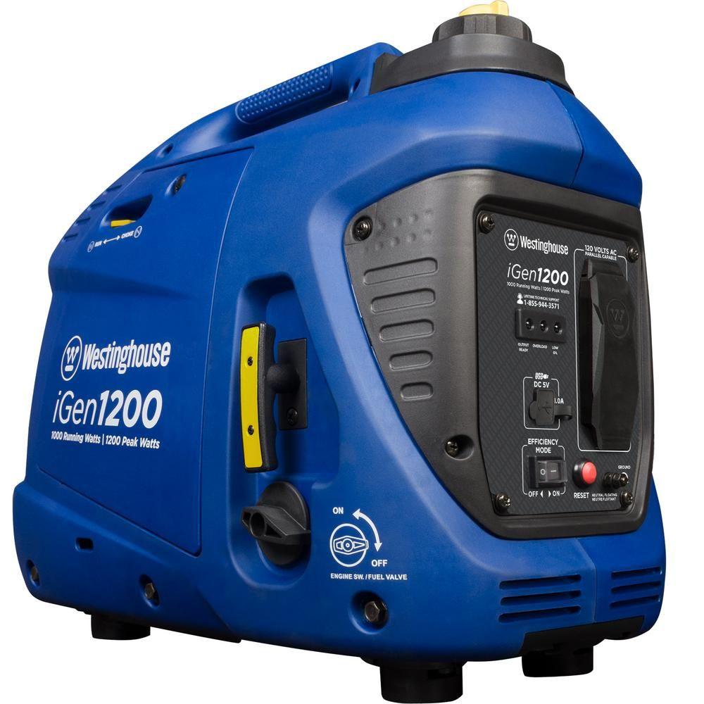 Westinghouse Igen1200 1 200 1 000 Watt Gas Powered Portable Inverter Generator With Enhanced Fuel Efficiency Igen1200 Portable Inverter Generator Inverter Generator Portable Generator