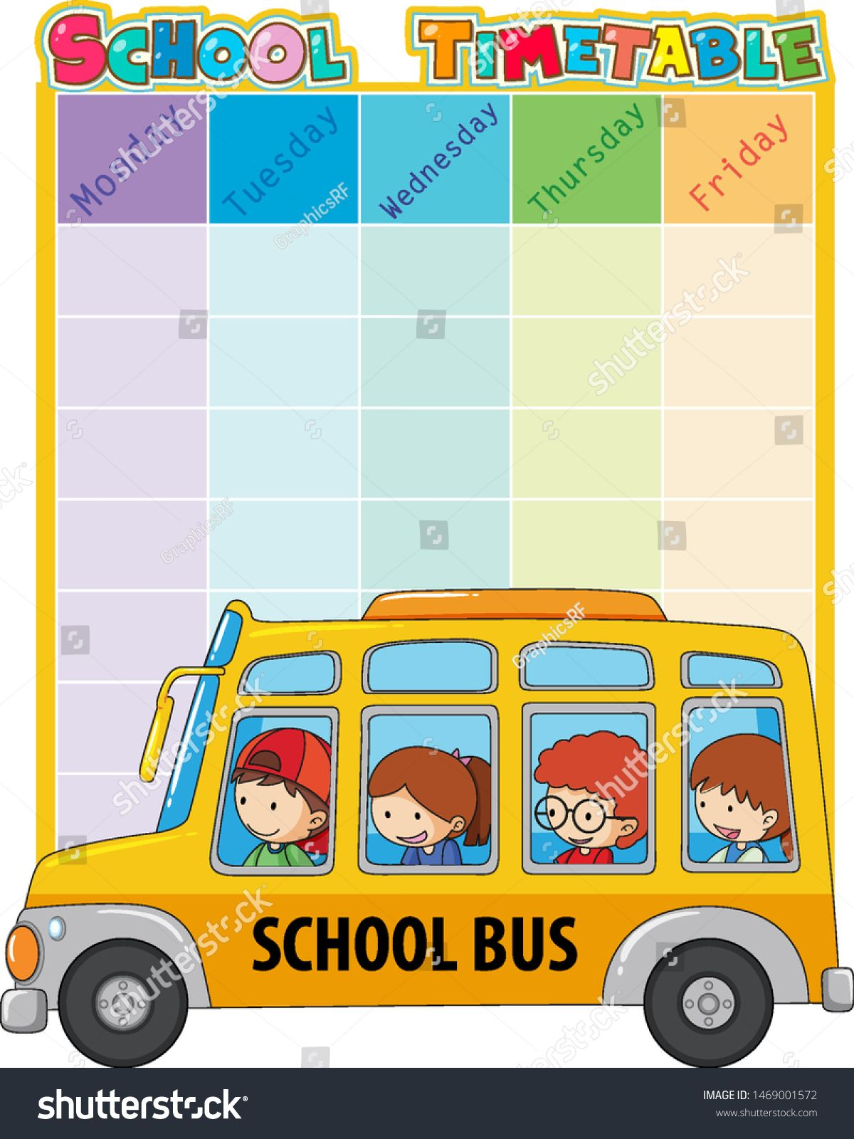 School Timetable Template With Bus And Kids Illustration Ad