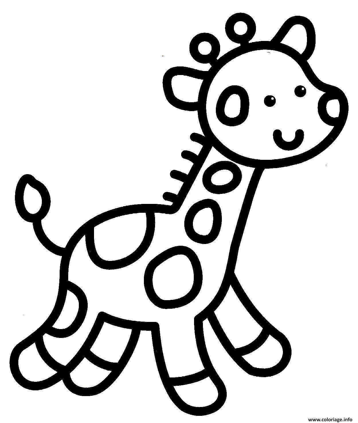 Coloriage Giraffe Facile Enfant Maternelle à Imprimer Peleda