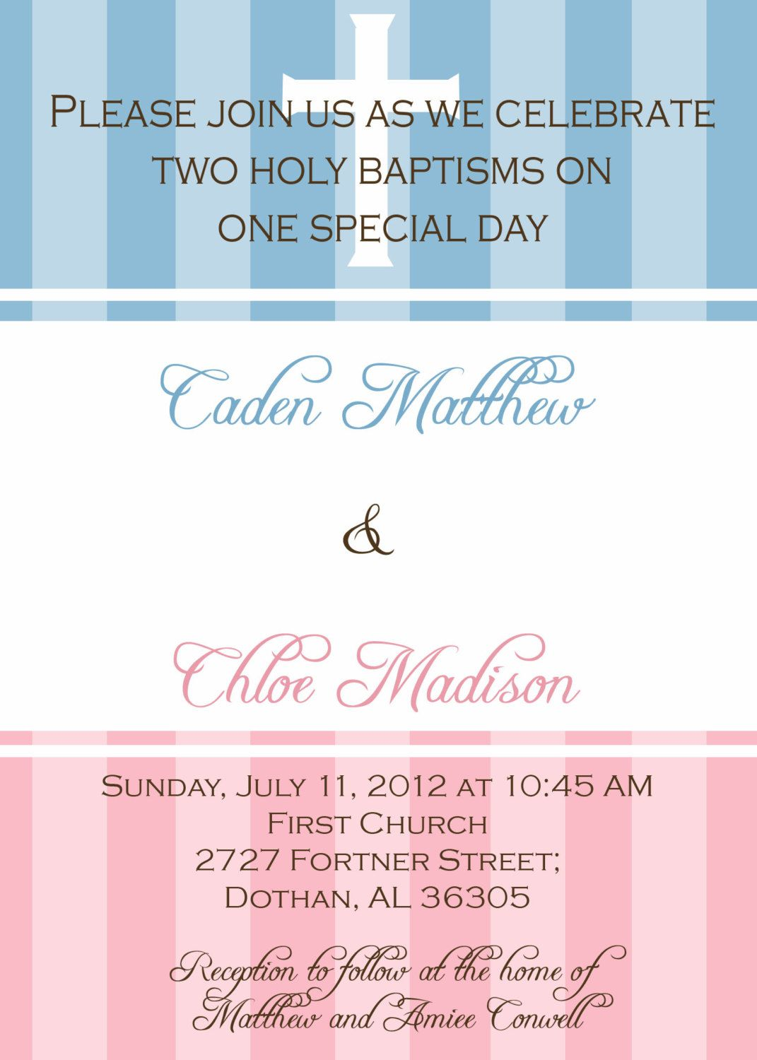 twin baptism invitation digital file christening baby dedication