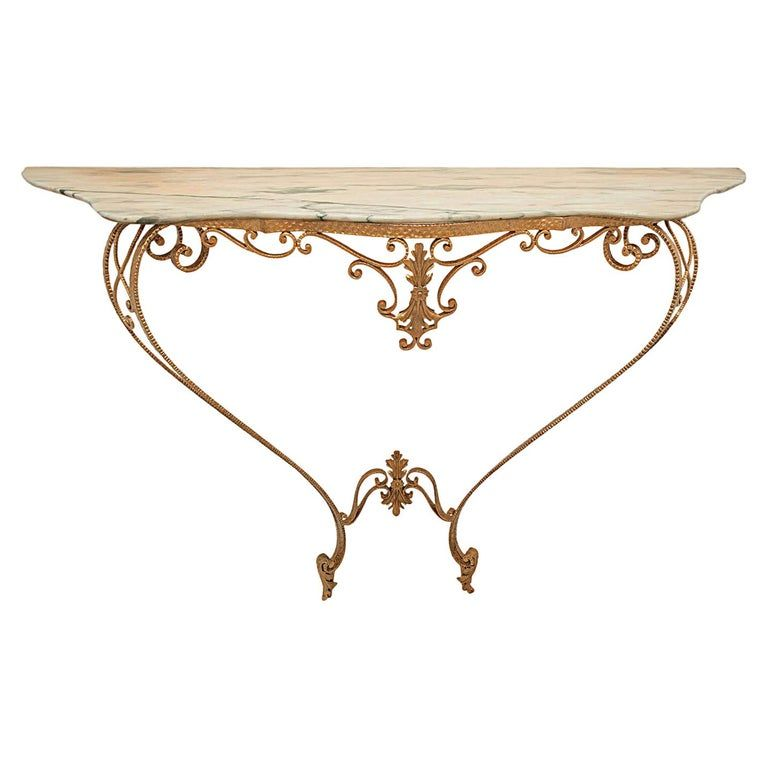 Marble And Gold Wrought Iron Console Table By Pier Luigi Colli
