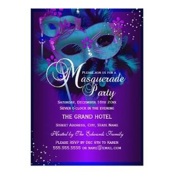 DIY Masquerade Ball Invitation Sweet 16 Party Purple Masquerade