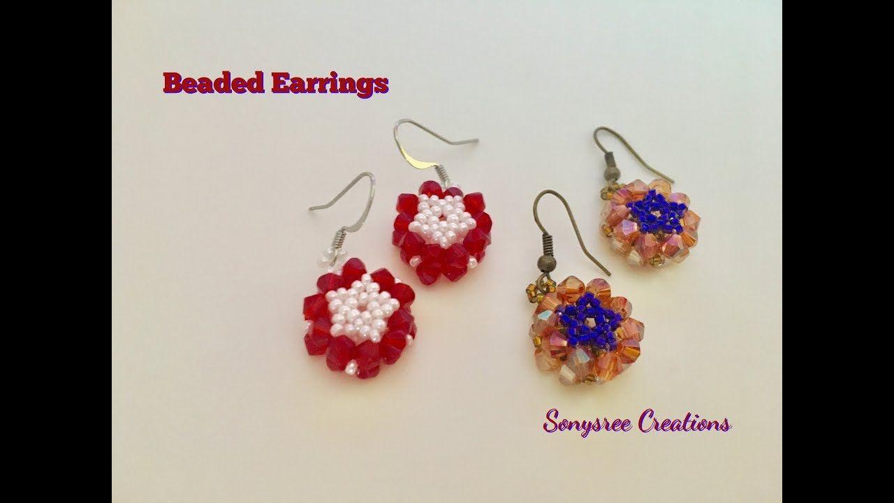 Easy 3d Flower Earrings Seed Bead Tutorials Beaded Earrings