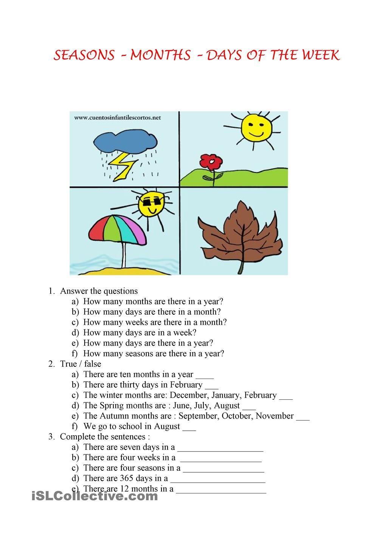Seasons Months Days Seasons Worksheets Seasons English Activities Free printable seasons worksheets