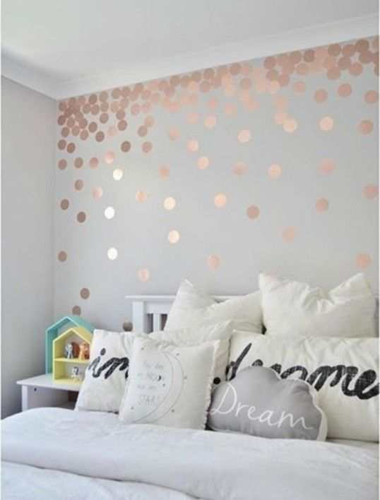 Rose Gold Wall Stickers Polka Dots