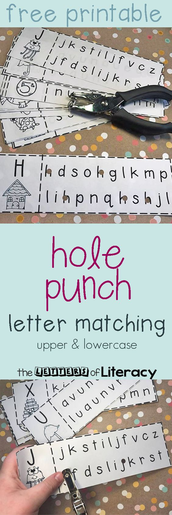 Upper & Lowercase Letter Recognition Matching Hole Punch Activity | Kind
