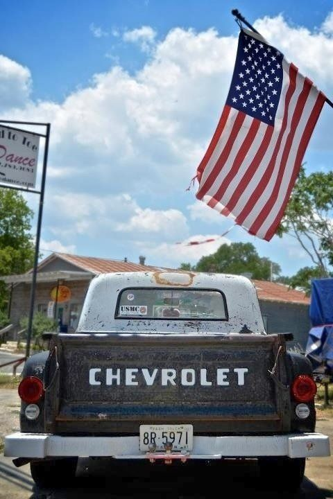A few of my favorite things,old Chevy pick-ups, American Flags and USMC.