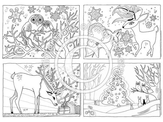 Christmas Coloring Pages Printables Pack Of 4 Instant