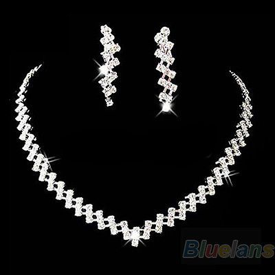 New-Prom-Wedding-Bridal-Crystal-Rhinestone-Necklace-Earring-Jewelry-Set-B1BU
