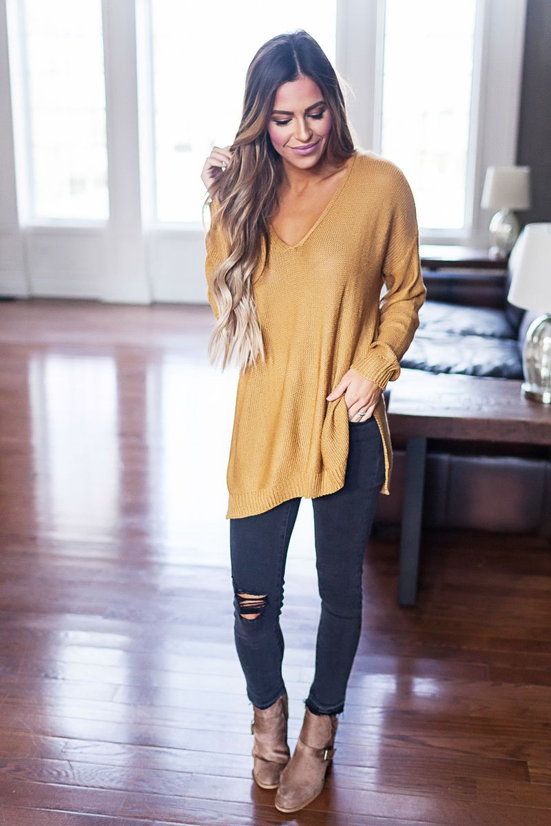 V Neck Sweater- Gold - Dottie Couture Boutique  214eb3365
