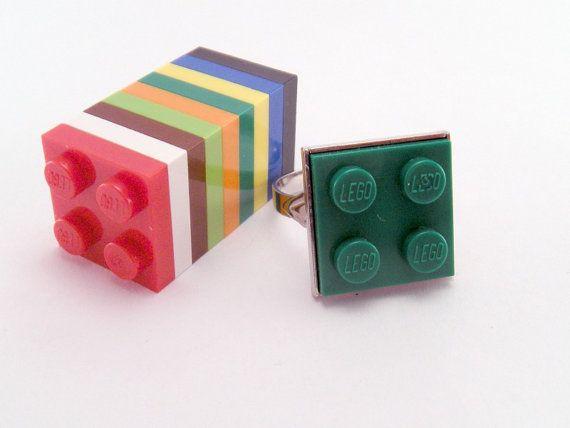 YOU CHOOSE COLOR Game Piece Tile Plate Block Plastic Square Adjustable Ring Dork Nerd Geek Punk Retro Rad on Etsy, $9.00