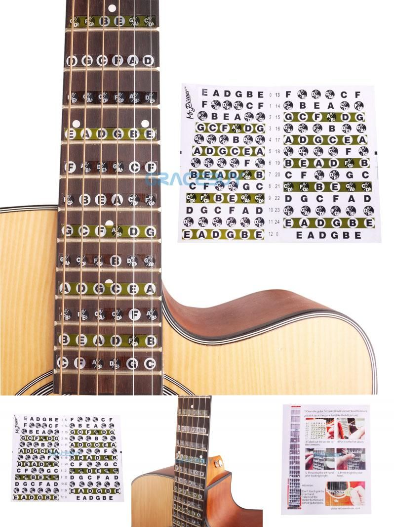 Visit To Buy Acoustic Electric Guitar Fretboard Note Music Sticker