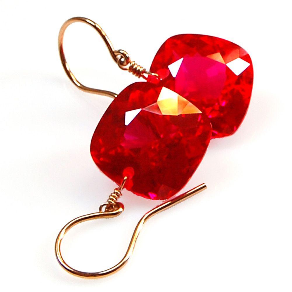 Red Topaz Cushion Cut Solitaire Earrings