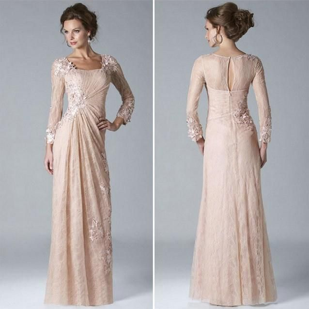 21622e4424 Blush Pink Lace Mother of The Bride Groom Dresses 2015 Modest Square  Neckline Long Sleeve Beaded Appliques Column Wedding Evening Party Gown