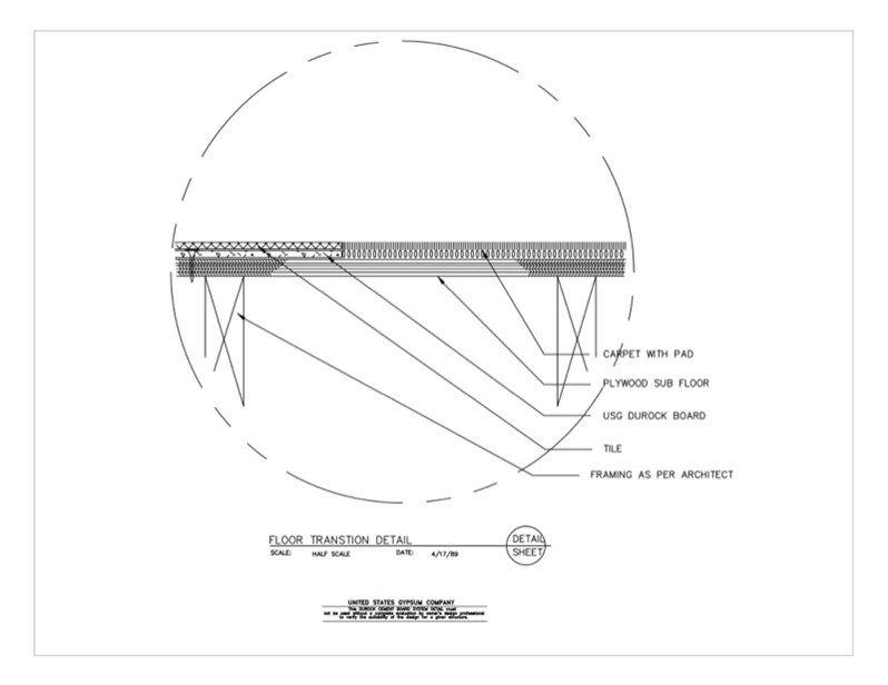 09 21 16 03 175 Durock Material Transition Detail Durock Floor Carpet Download Details Detailed Drawings Design Detail