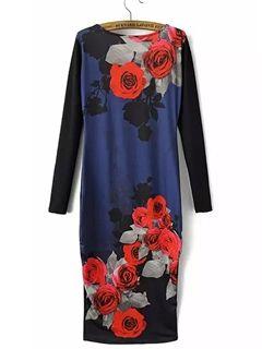 Ericdress Floral Print Color Block Sheath Dress