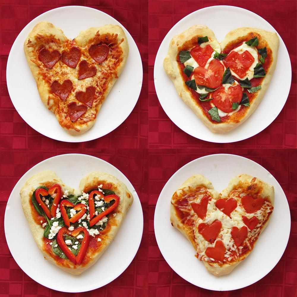 cute idea for the kids four heart shaped personal pizzas that you can make with the kids for valentines day or just for fun - Valentines Day Meal Ideas