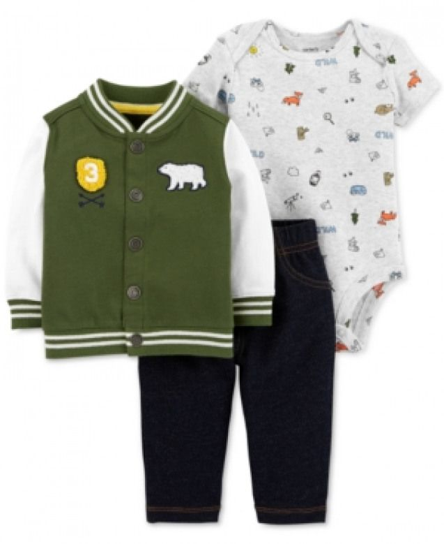 Carter's Baby Boys 3-Pc. Wilderness Varsity Jacket Outfit Set - Green Newborn #babyclothing #carters #baby #clothing #varsityjacketoutfit