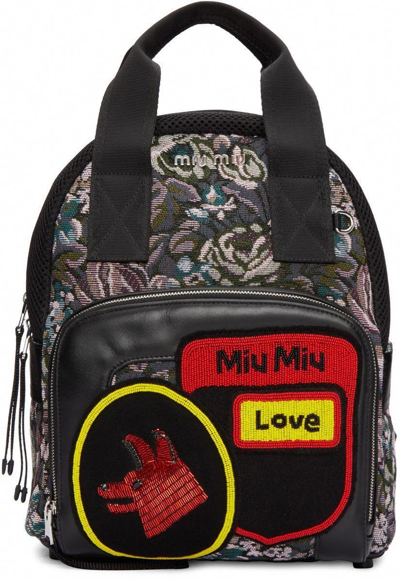 Miu Miu - Multicolor Tapestry Backpack  MiuMiu  fa0e4f3d8cbb7