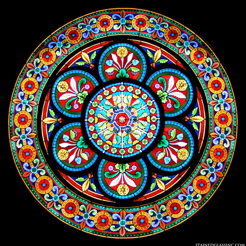 Quot Dandelion Delight Quot Stained Glass Window Stained Glass Circles Stained Glass Stained Glass Windows