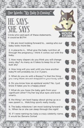 Games Of Thrones Inspired Baby Shower Game U0026 Theme! He Says, She Saysu2026
