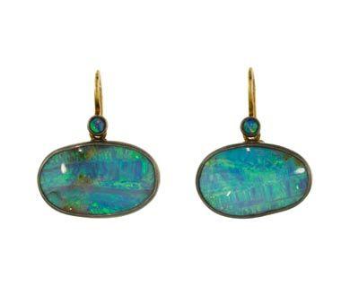 Judy Geib | Beautiful Boulder Opal Earrings in Designers Judy Geib Earrings at TWISTonline