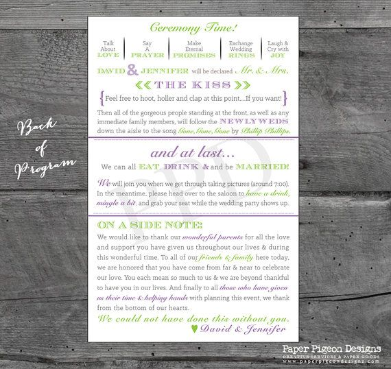 Fun Wedding Programs Wedding Program by PaperPigeonDesigns on Etsy