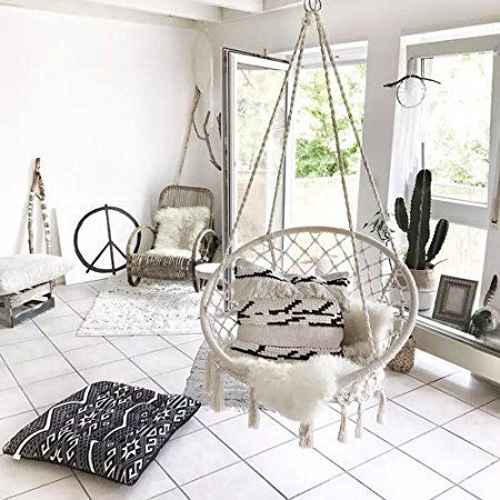 swing chair lagos costco folding beach chairs amazon com sonyabecca hammock macrame 265 pound capacity handmade knitted hanging