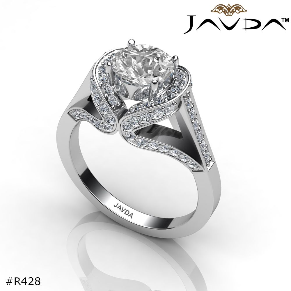 Round Diamond Engagement Ring Certified By GIA, D Color & SI1 Clarity, 14k White Gold.