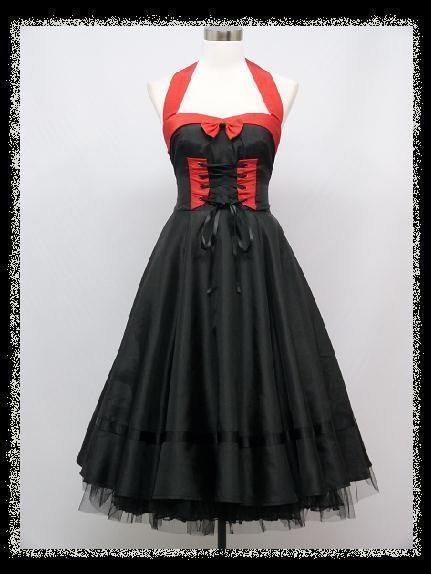 c377f45857 dress190 BLACK & RED 50s HALTER CORSET ROCKABILLY PARTY PIN-UP VINTAGE DRESS