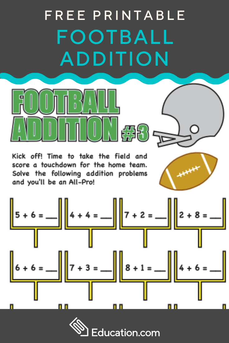 Football Addition 3 Worksheet Education Com Worksheets Free Math Facts Addition Practice
